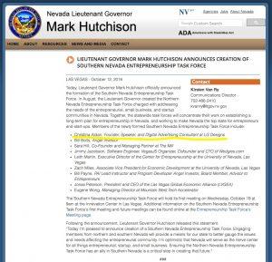 LIEUTENANT GOVERNOR MARK HUTCHISON ANNOUNCES CREATION OF SOUTHERN NEVADA ENTREPRENEURSHIP TASK FORCE
